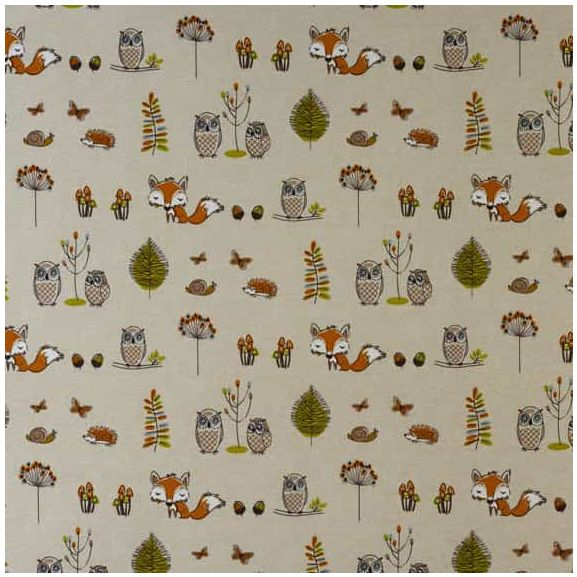 FRYETT`S Cotton WOODLAND FOX Fabric for Curtain//Upholstery,Crafts,Quilting