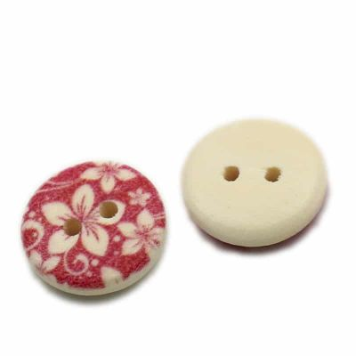 Round Wooden Orange Floral Design Button 15mm