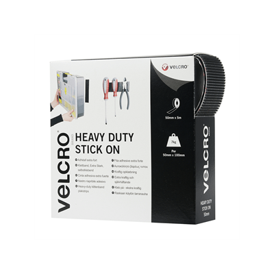 VELCRO® brand Hook & Loop Tape: Heavy Duty Stick On 50mm Black