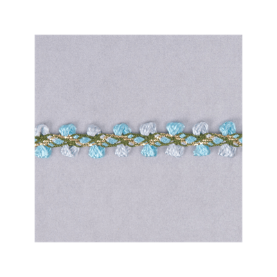 Braided Metallic 8mm Wide Trim - Pale Blue/Mid Blue