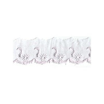 Broderie Anglaise Scalloped Lace Trim 25mm Wide - White