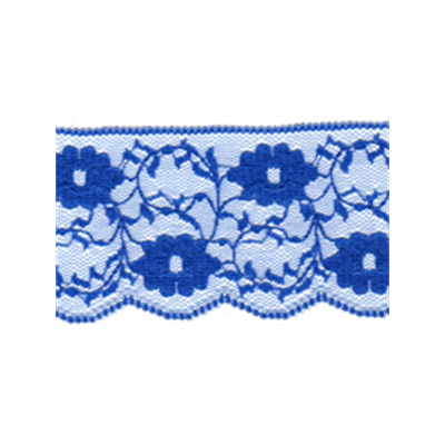 Scalloped Edge Floral And Ivy Lace Trim 55mm Wide - Blue