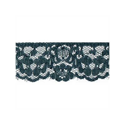 Scalloped Edge Floral Lace Trim 35mm Wide - Petrol Blue