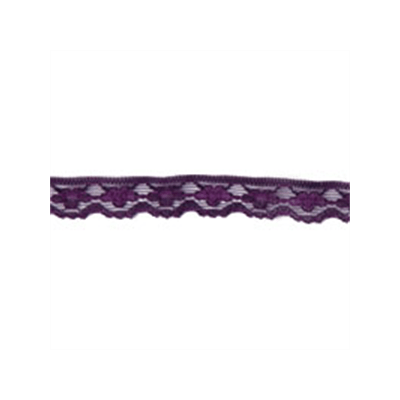 Scalloped Edge Floral Lace Trim 11mm Wide - Purple