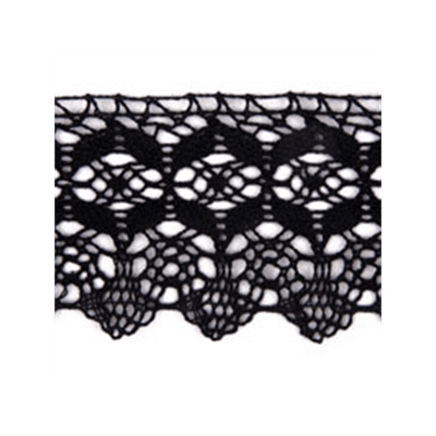 Scalloped Edge Classic Cotton Lace Trim 70mm Wide - Black