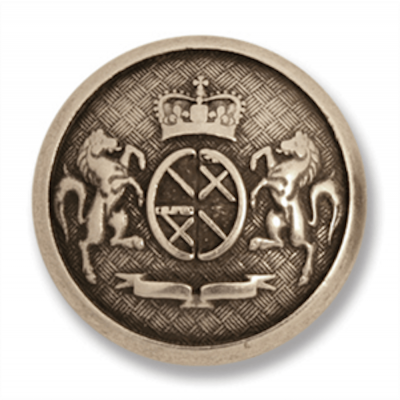 Metal Coat Of Arms Shank Button Silver Coloured 23mm