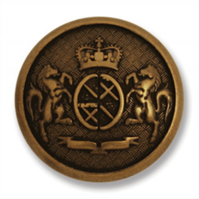 Metal Coat Of Arms Shank Button Bronze Coloured 23mm