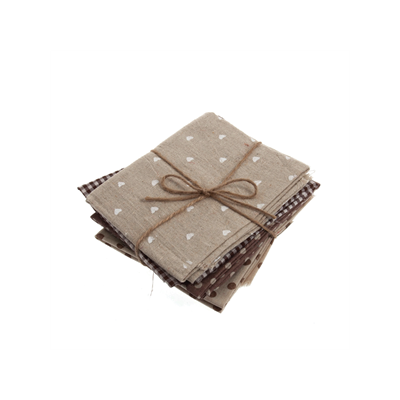 Linen Blend - Natural / Brown - 4 Fat Quarters
