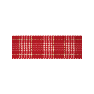 25mm Rustic Plaid Red Ribbon 3m Reel