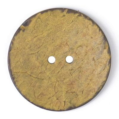 Round Coconut Shell Button - Yellow - 40mm / 64L