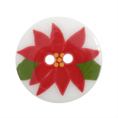 Festive 2 Hole Button Red Poinsettia On White 23mm