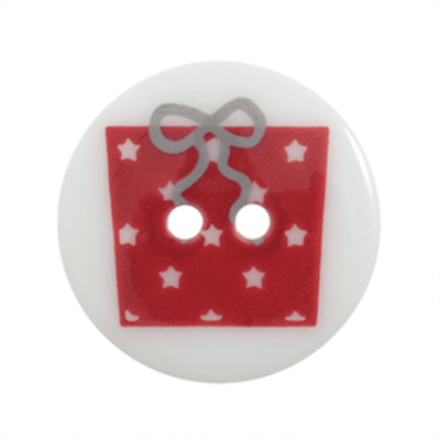 Festive 2 Hole Button Red Present On White 23mm