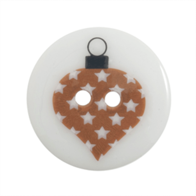 Festive 2 Hole Button Bauble On White 23mm