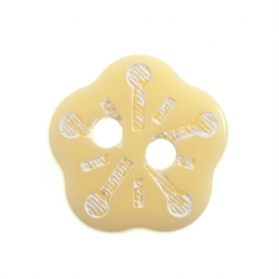 Cream Snowflake Flower Two Hole Button 18L/11mm