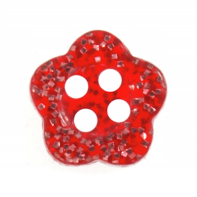 Red Glitter Flower Two Hole Button 14L/9mm