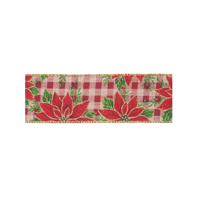 Wire Edged Christmas Ribbon - Checked Glitter Poinsettia - 63mm