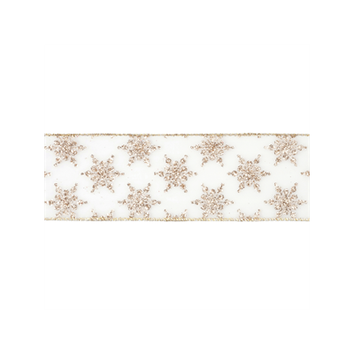 Wire Edged Christmas Ribbon - Gold Glitter Snowflake - 63mm