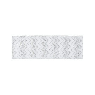 Wire Edged Christmas Ribbon - Silver Glitter Zig Zag - 63mm
