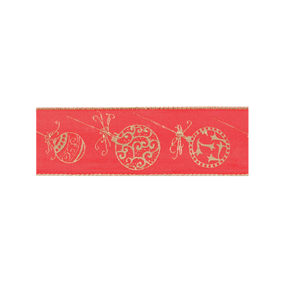 Wire Edged Christmas Ribbon - Red Baubles - 38mm