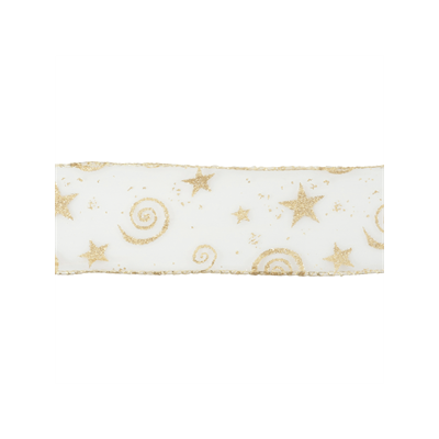 Wire Edged Christmas Ribbon - Gold Glitter - 63mm