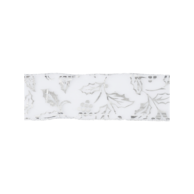 Wire Edged Christmas Ribbon - Silver Holly - 63mm