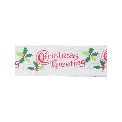 Wire Edged Christmas Ribbon - Christmas Greetings - 63mm