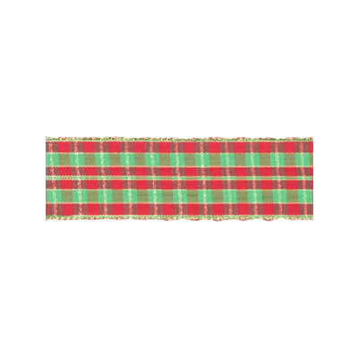 Wire Edged Christmas Ribbon - Tartan - 38mm