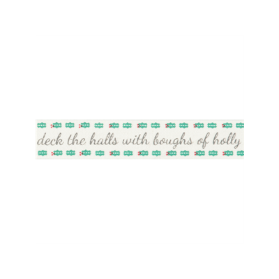 Bowtique Novelty Christmas Ribbon - Deck The Halls On Natural - 15mm