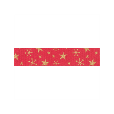 Bowtique Novelty Christmas Ribbon - Gold Stars On Red - 15mm
