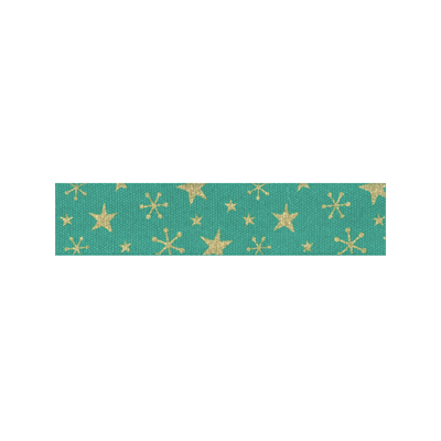 Bowtique Novelty Christmas Ribbon - Gold Stars On Green - 15mm