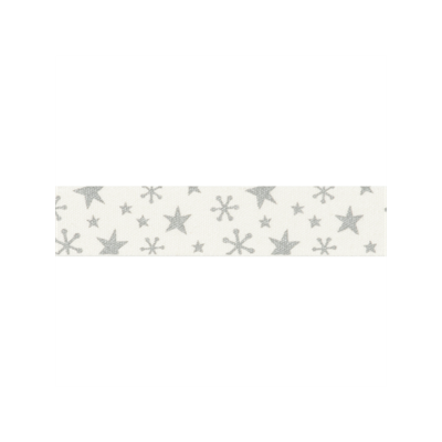 Bowtique Novelty Christmas Ribbon - Silver Stars On Natural - 15mm