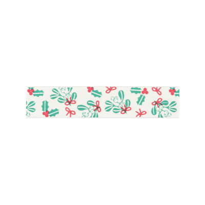 Bowtique Novelty Christmas Ribbon - Holly And Mistletoe On Natural - 15mm
