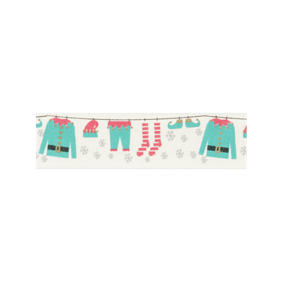 Bowtique Novelty Christmas Ribbon - Elves Washing Line - 25mm