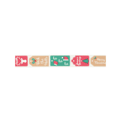 Bowtique Novelty Christmas Ribbon - Christmas Tags - 25mm