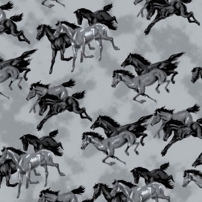 A.E. Nathan - Flannel Fabric - Grey Horses