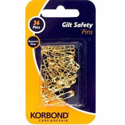 Korbond Gilt Safety Pins 36 Assorted Pieces