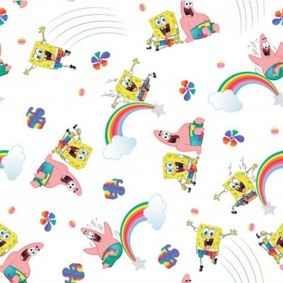 Cotton Poplin Fabric - Spongebob Squarepants And Rainbows