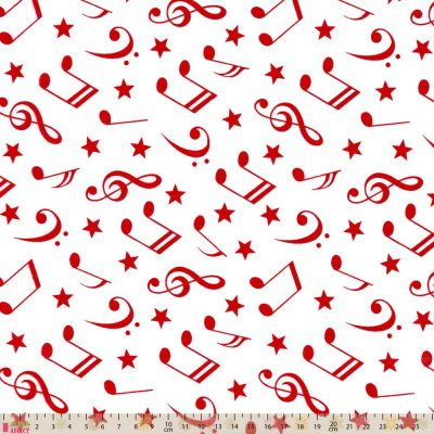 Polycotton - Red Musical Notes On White