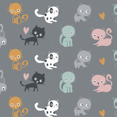 Stretch Cotton Jersey Knit - Cartoon Cats On Grey