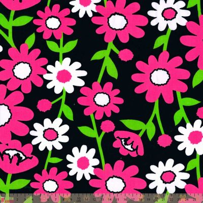 Remnant - Polycotton - Bright Pink Daisies On Black - 64 x 110cm