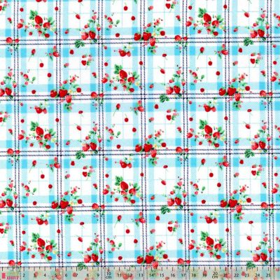 Polycotton - Strawberry Check Turquoise