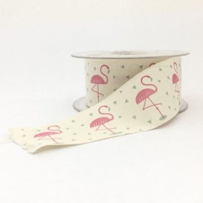 Novelty Natural Ribbon - Flamingo - 40mm
