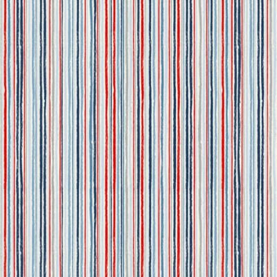 Makower Sail Away Chalk Stripe Blue Red Cut Length