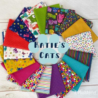 Makower - Katies Cats - Fat Quarter Bundle - 11 Fabrics