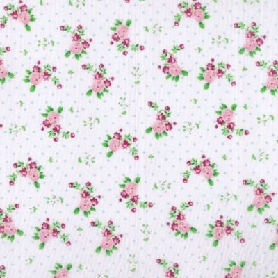 Polycotton - Pink Floral On Dotty White
