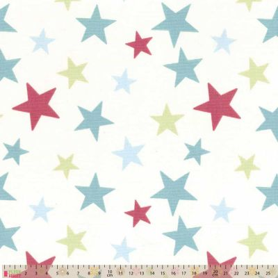 Upholstery / Curtain Fabric - Scattered Stars - Duck Egg / Rose