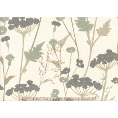 Upholstery / Curtain Fabric - Floral Fields - Grey / Green
