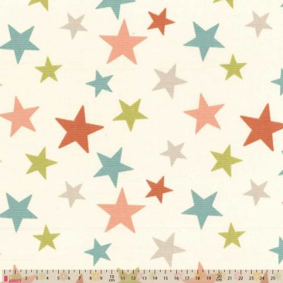 Upholstery / Curtain Fabric - Scattered Stars - Coral / Green
