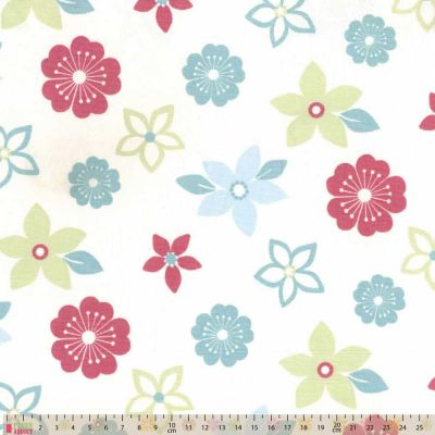 Upholstery / Curtain Fabric - Flower Power - Duck Egg / Rose