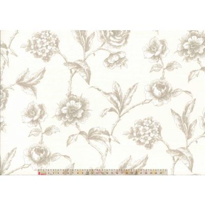 Upholstery / Curtain Fabric - Floral Classic - Linen
